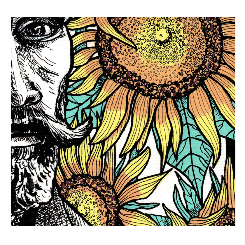 Pen details of Vincent's face and sunflower