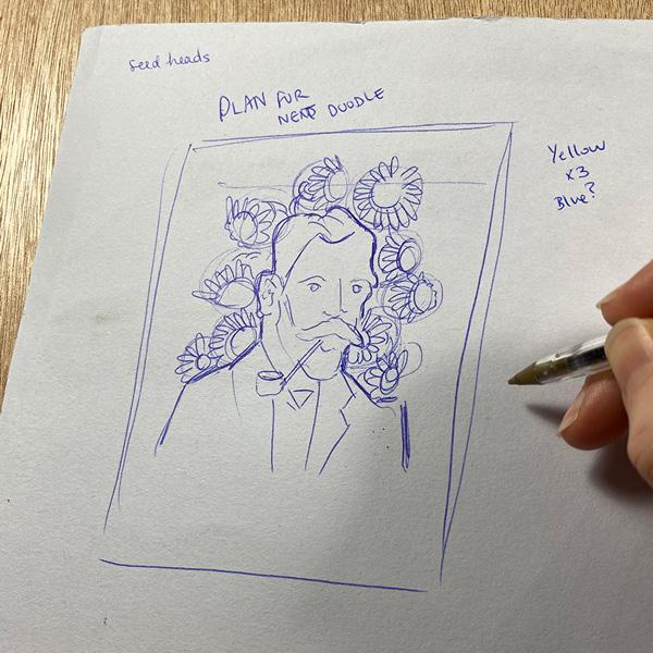 A biro sketch of the artwork