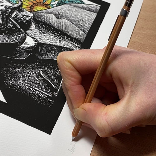 Signing a giclee print